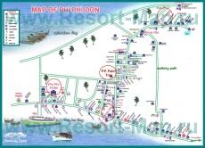 Подробная карта Пхи-Пхи с отелями