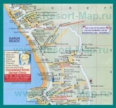 Подробная карта Карона с отелями