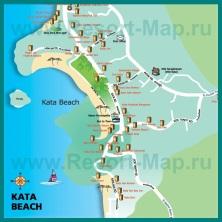 Карта пляжа Ката с отелями