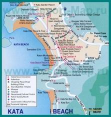 Подробная карта пляжа Ката Бич