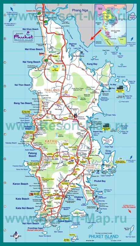 Карта Пхукета с пляжами и отелями