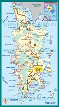 Подробная карта острова Пхукет