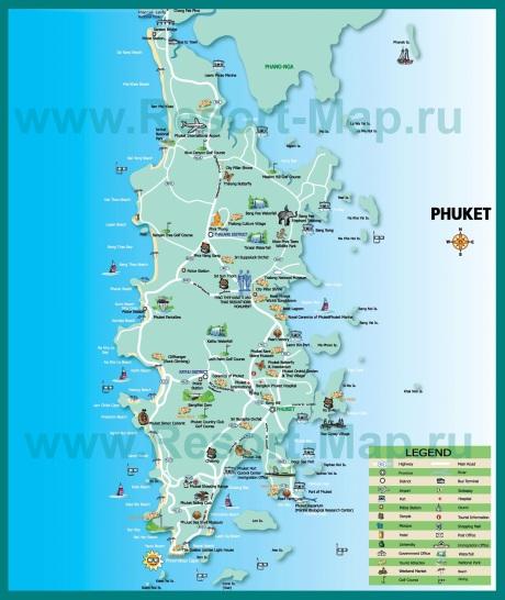 Туристическая карта Пхукета с достопримечательностями
