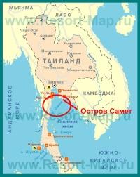 Остров Самет на карте Тайланда