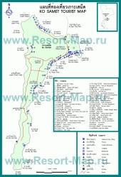 Подробная карта отелей Ко Самета
