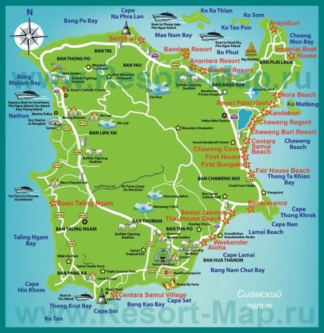 Карта Самуи с пляжами и достопримечательностями