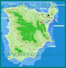 Подробная карта острова Самуи с отелями