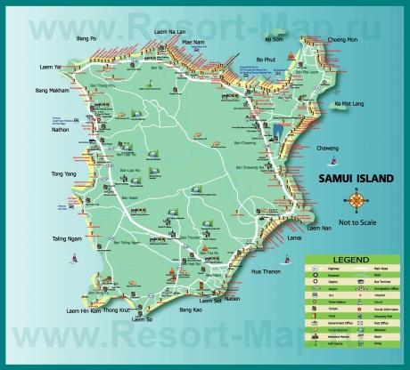 Туристическая карта Самуи с отелями