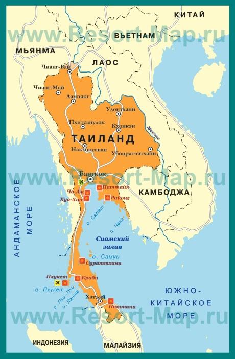 Курорты Тайланда на карте