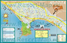 Подробная карта Аланьи с достопримечательностями