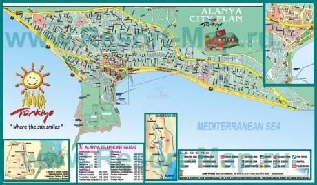 Туристическая карта города Аланья