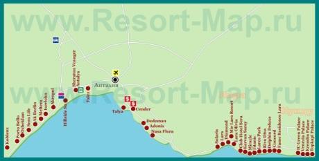 Карта отелей Анталии