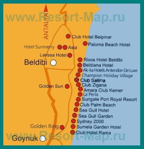 Карта отелей Бельдиби