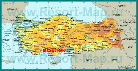 Белек на карте Турции