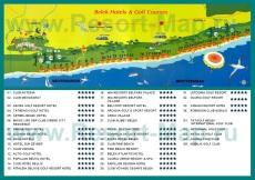 Карта отелей Белека