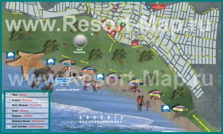 Подробная туристическая карта Белека