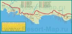 Карта побережья Кемера