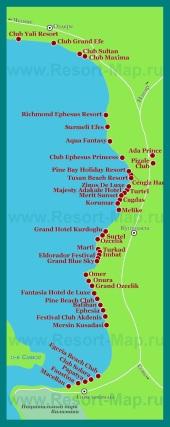 Карта отелей Кушадас