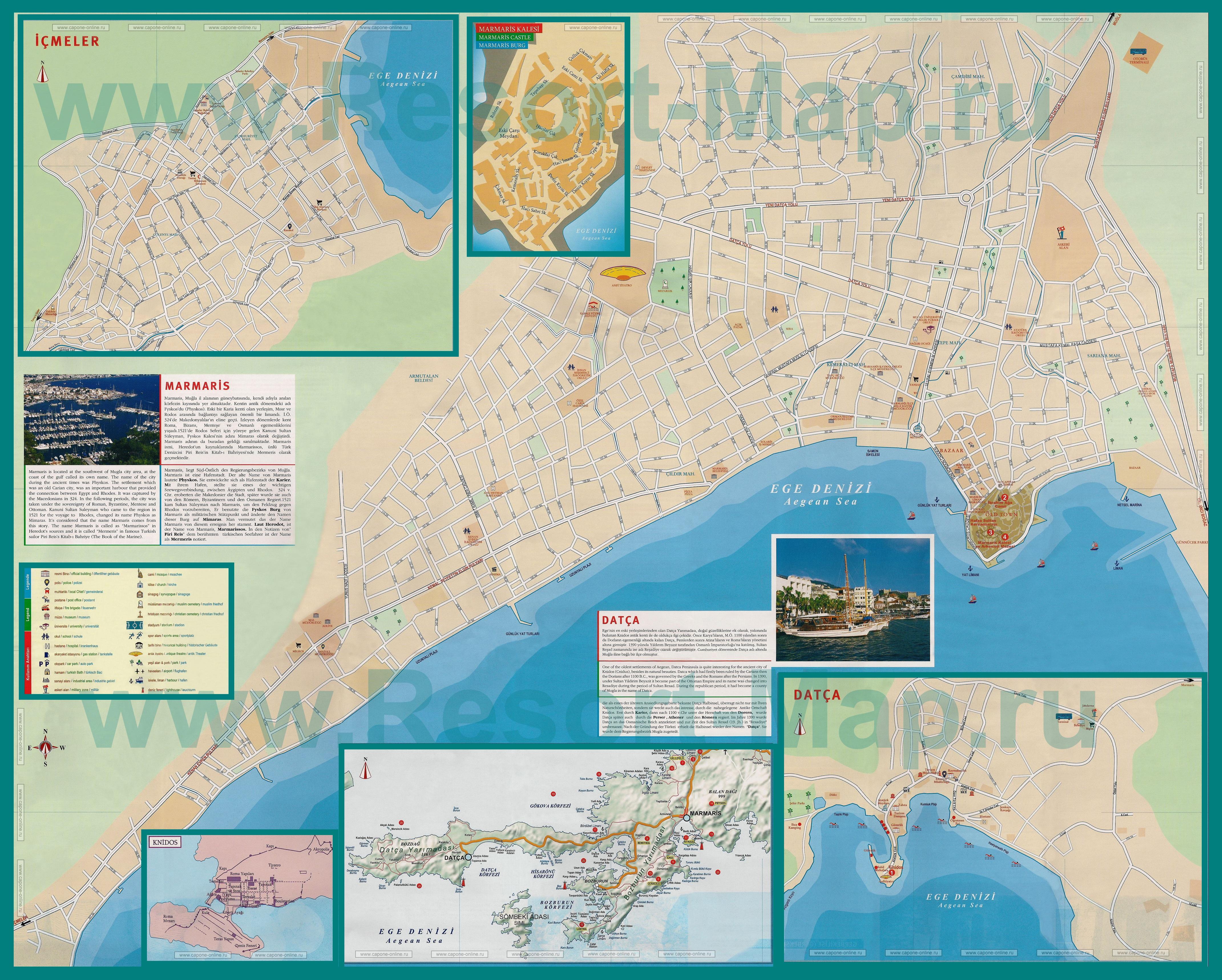 Подробная карта города мармарис