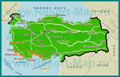 Курорты Турции на карте