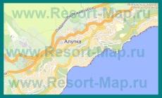 Подробная карта Алупки с улицами и номерами домов