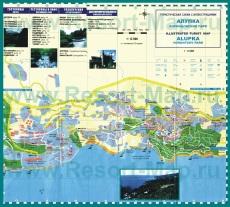 Туристическая карта Алупки с достопримечательностями