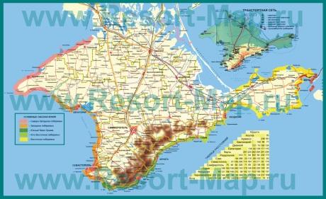 Автомобильная карта дорог Крыма с растояниями
