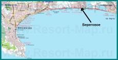 Береговое на карте Феодосии