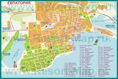 Карта Евпатории с санаториями