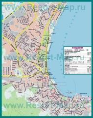 Карта города Феодосия с пляжами