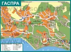 Подробная карта города Гаспра с улицами