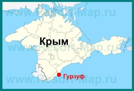 Гурзуф на карте Крыма