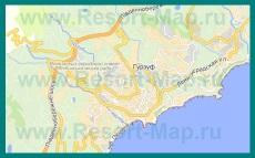 Подробная карта Гурзуфа с улицами и номерами домов