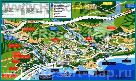 Туристическая карта Гурзуфа с пансионатами
