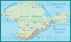 Карта побережья Крыма с курортами