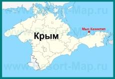 Мыс Казантип на карте Крыма