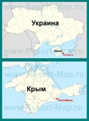 Коктебель на карте Крыма и Украины
