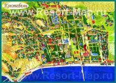 Туристическая карта Коктебеля с пансионатами