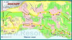 Подробная карта курорта Мисхор с улицами