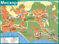 Туристическая карта Мисхора с санаториями