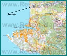 Орловка на карте Севастополя с окрестностями