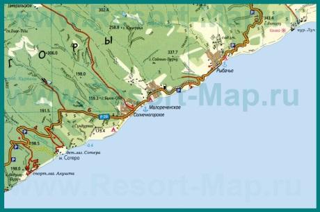 Карта поселка Рыбачье с окрестностями