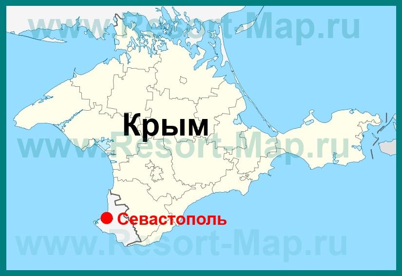 Севастополь на карте Крыма..