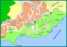 Подробная карта города Симеиз с улицами