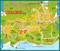 Туристическая карта Симеиза с санаториями