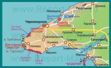 Подробная карта мыса и полуострова Тарханкут