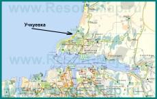 Пляж Учкуевка на карте Севастополя