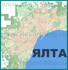 Подробная карта Ялты с улицами и номерами домов