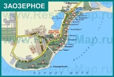 Туристическая карта поселка Заозерное с пансионатами