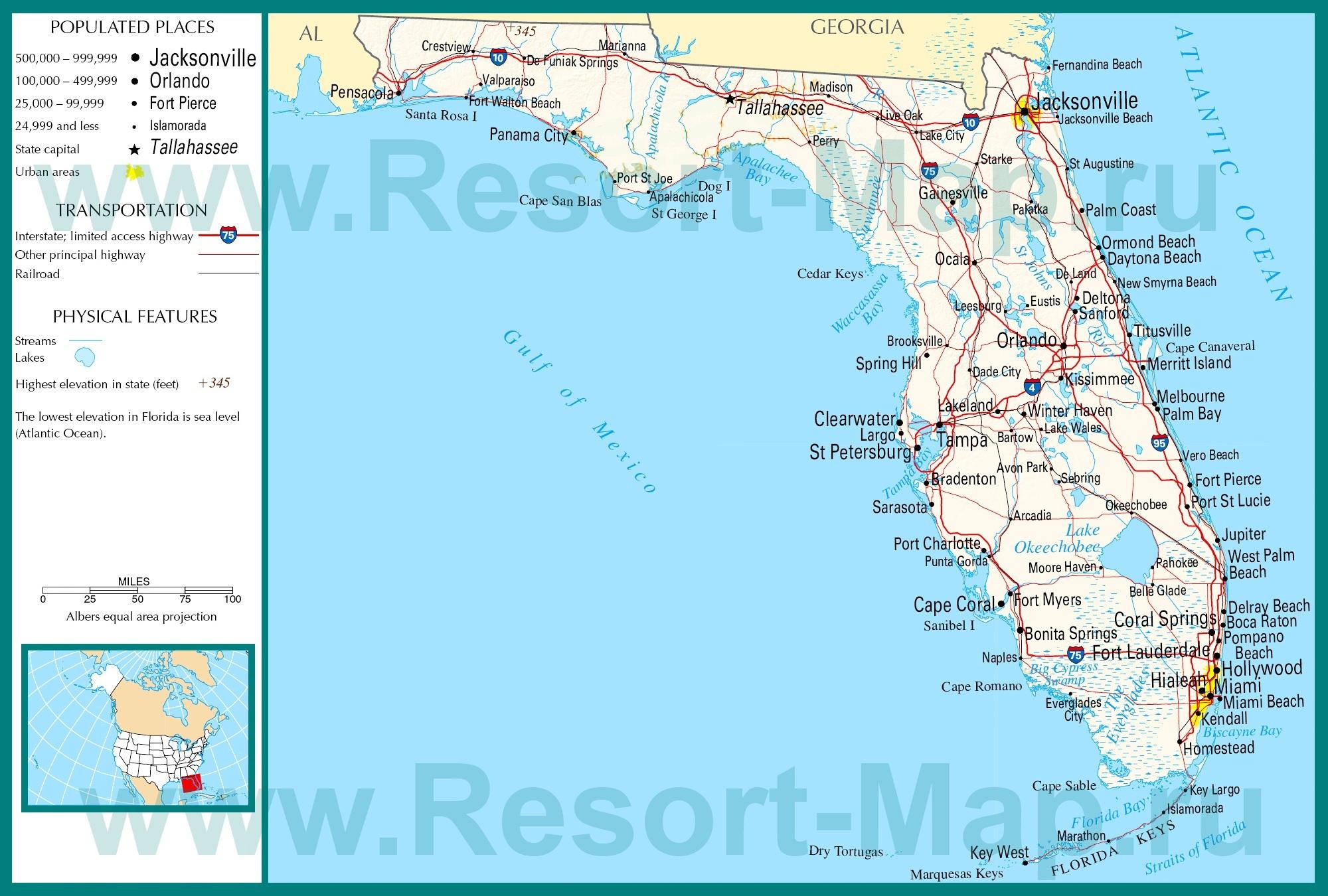 Karta Poluostrova Florida